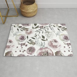 dusty rose floral watercolor Rug