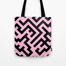 Black and Cotton Candy Pink Diagonal Labyrinth Tote Bag