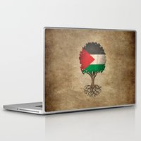 palestine Laptop & iPad Skins featuring Vintage Tree of Life with Flag of Palestine by Jeff Bartels