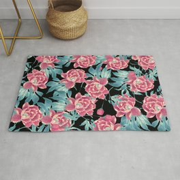 Pink Flowers on Black Rug