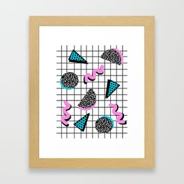 It's Casual - memphis throwback retro neon squiggle grid shapes geometric black and white modern art Framed Art Print
