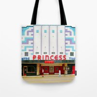 theater Tote Bags featuring Princess Theater by Tiffany Dawn Smith