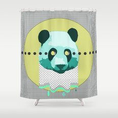 the blue panda who was melting black and white Shower Curtain