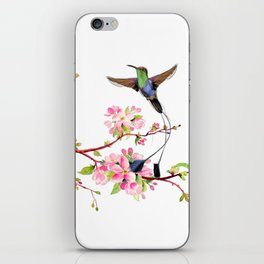 Hummingbird flying among the Cherryblossom trees iPhone Skin