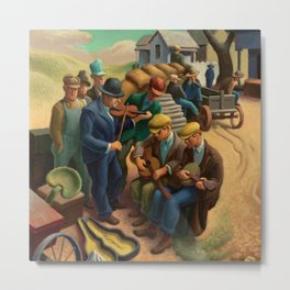 Farm Sale with Pop and the Boys by Thomas Hart Benton Metal Print