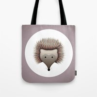 hedgehog Tote Bags featuring hedgehog by ovisum
