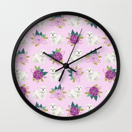 Maltese dog breed florals pattern cute gifts for dog lovers by pet friendly Wall Clock