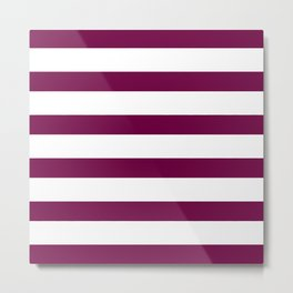 Bordeaux & White Stripes | Digital Design Metal Print