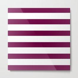 Bordeaux & White Stripes | Digital Design Metal Print