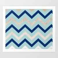 Marine zig zag - golden gradient turquoise Art Print