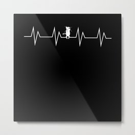 EKG Pulse Rat Heart Line Pulse Motif Metal Print