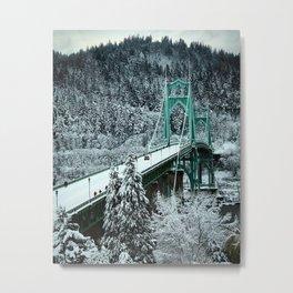 Snowy St Johns Bridge by Seasons Kaz Sparks Metal Print