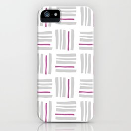 Stripes×Checkered Pattern_White&Pink iPhone Case