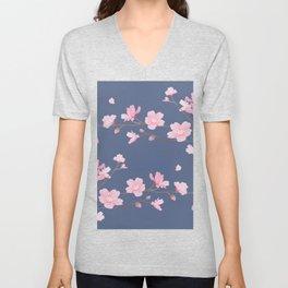 Cherry Blossom - Denim Blue Unisex V-Neck
