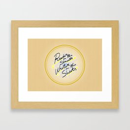 Reader in the Streets / Writer in the Sheets Framed Art Print