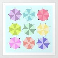 umbrella Art Prints featuring Umbrella by Melis Kalpakçıoğlu