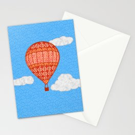 Hot Air Balloon, Coral Orange Against a Blue Sky Stationery Cards