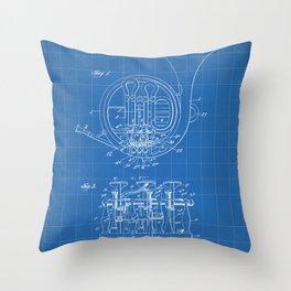 French Horn Patent - Horn Player Art - Blueprint Throw Pillow