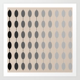 Beads Monochromatic Minimalist Pattern in Gray and Putty Art Print