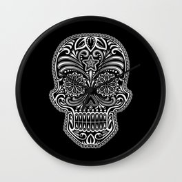 Intricate White and Black Day of the Dead Sugar Skull Wall Clock