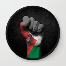 Jordanian Flag on a Raised Clenched Fist Wall Clock