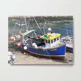Fishing boat at Boscastle harbour Metal Print