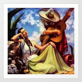 Love and Spanish Guitar under Sonoran Desert Skies by Jesus Helguera Art Print