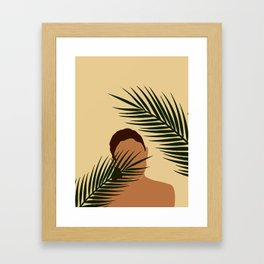 Tropical Reverie - Modern Minimal Illustration 14 - Girl with palm leaf - Tropical Aesthetic - Brown Framed Art Print