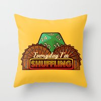 magic the gathering Throw Pillows featuring Everyday I'm Shuffling  |  Magic The Gathering by Silvio Ledbetter