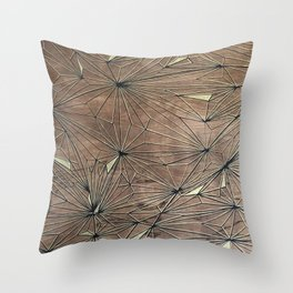 Stare Geometric Fractals on Wood Throw Pillow