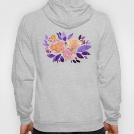 Abstract watercolor roses - orange and purple Hoody