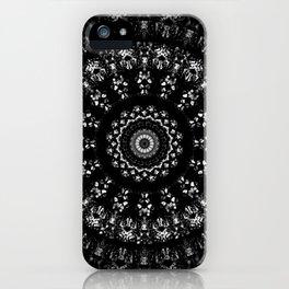 Kaleidoscope crystals mandala in black and white iPhone Case