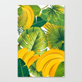 Tropical leaves decor bananas print forest interior palm Canvas Print