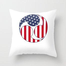 Taiko Mitsudomoe Patriotic American Flag Graphic design. Throw Pillow