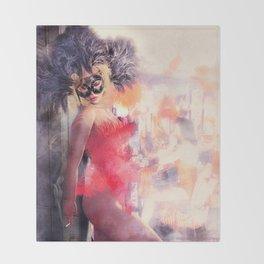 Painted Fan Dancer - Dressing Room Break Throw Blanket