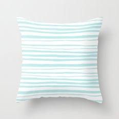 Handmade aqua turquoise Stripes on white - Maritime pattern Throw Pillow
