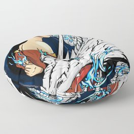 Blue Fire Floor Pillow