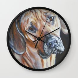 Rhodesian Ridgeback dog art portrait from an original painting by L.A.Shepard Wall Clock