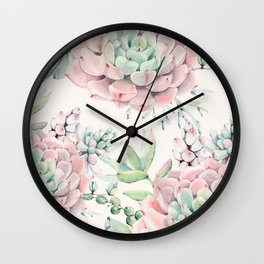 Pink Succulents on Cream Wall Clock