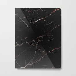 black and rose gold marble Metal Print