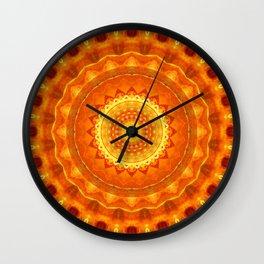 Mandala orange light Wall Clock