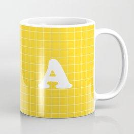 Monogram A on Grid - white on yellow Coffee Mug