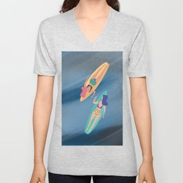 Surf Sisters - Muted Ocean Color Girl Power Unisex V-Neck
