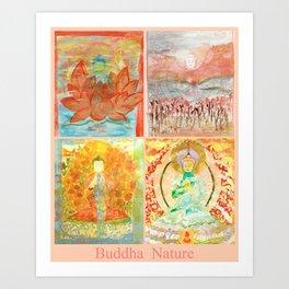 FOUR BUDDHAS  — BUDDHA NATURE Art Print