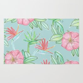 Tropical Flowers Soft Blue Background Rug