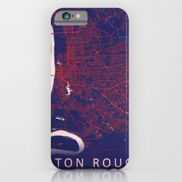Baton Rouge, LA, USA, Blue, White, City, Map iPhone Case