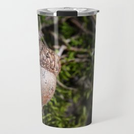Fall Acorn on Green Moss Travel Mug