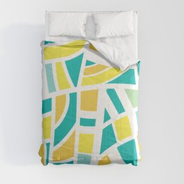 Broken Blue And Yellow Abstract Comforters