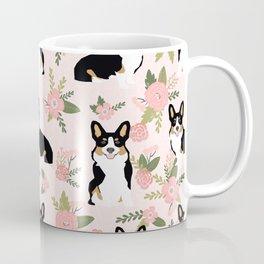 Tricolored Corgi Floral print - feminine blush mint florals dogs, dog lover, dog mom, tri corgi cute Coffee Mug