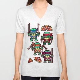 Teenage Mutant Ninja Turtles Pizza Party Unisex V-Neck